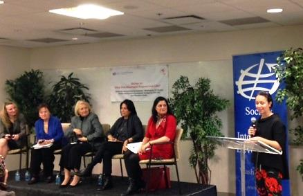 Cristina Manfre, Sr. Associate at Cultural Practice, LLC and Co-Chair of the SID-GID Workgroup addresses the panel (left to right): Alyse Nelson, Kathleen Hendrix, Ambassador Melanne Verveer, and Indira Lakshmanan (moderator).