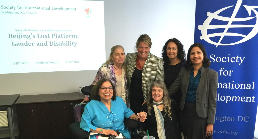 Beijing's Lost Platform: Gender and Disability panelists Judy Heumann, Susan Sygall, Deepti Samant Raja and Stephanie Ortoleva pose with Society for International Development-Gender and Inclusive Development workgroup co-chairs Jennifer Collins-Foley and Cristina Manfre.