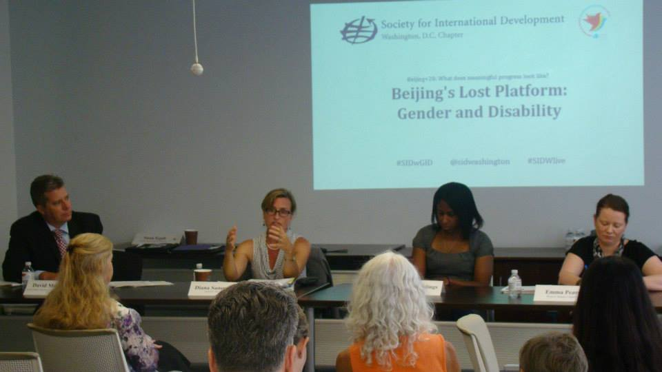 Beijing's Lost Platform: Gender and Disability panelists (left to right) David Morrissey (United States International Council on Disabilities),Diana Samarasan (Disability Rights Fund), Adrienne Biddings (Google), and Emma Pearce (Women's Refugee Commission) discuss successful strategies for moving forward.