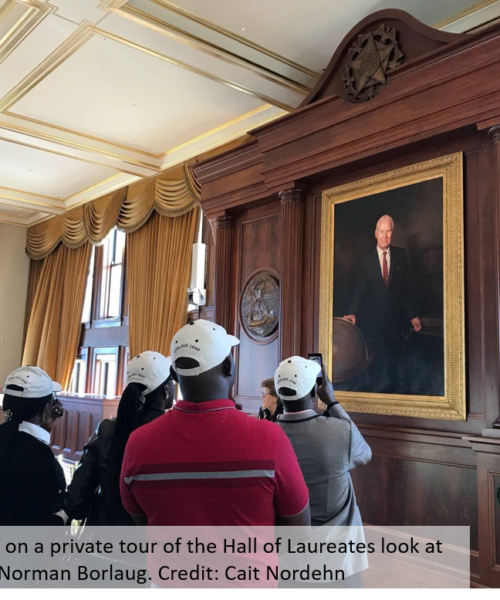 Photo: LEAP Fellows on a private tour of the Hall of Laureates look at a portrait of Norman Borlaug. Credit: Cait Nordehn